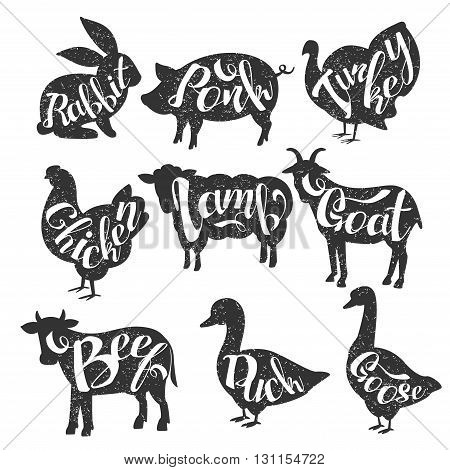 Farm Animals Vintage Stamp Collection Of Monochrome Vector Design Labels On White Background