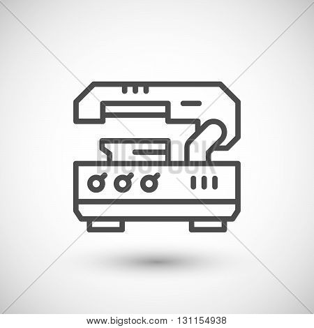 Metal cutting machine line icon isolated on grey. Vector illustration