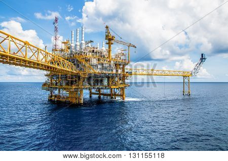 Offshore construction platform for production oil and gas Oil and gas industry and hard work Production platform and operation process by manual and auto function