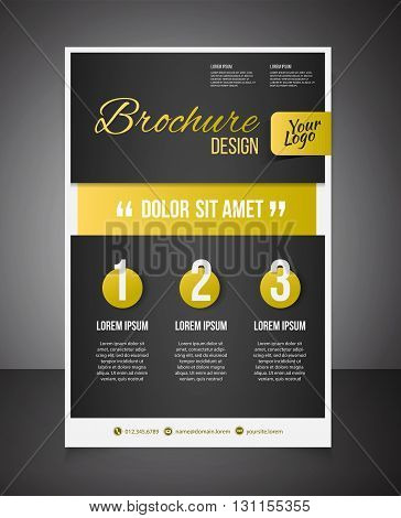 Gold Business Brochure Or Offer Flyer Design Template. Brochure Design, Blank, Print Design, Flyer W