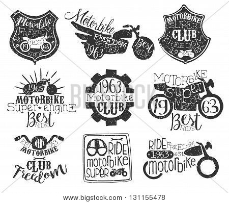 Motorbike Club Vintage Stamp Collection Of Monochrome Vector Design Labels On White Background