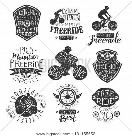 Mountain Bike Vintage Stamp Collection Of Monochrome Vector Design Labels On White Background