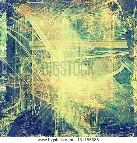 Aged grunge graphic background with shabby texture in vintage style and different color patterns: yellow (beige); brown; green; blue