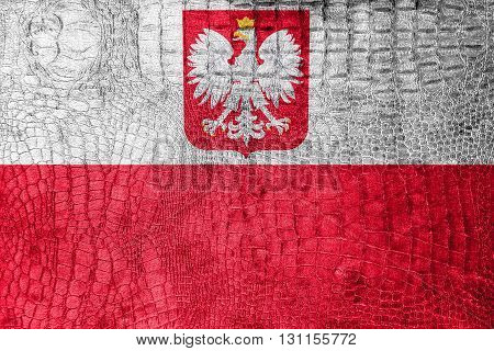 Flag Of Poland With Coat Of Arms, On A Luxurious, Fashionable Ca