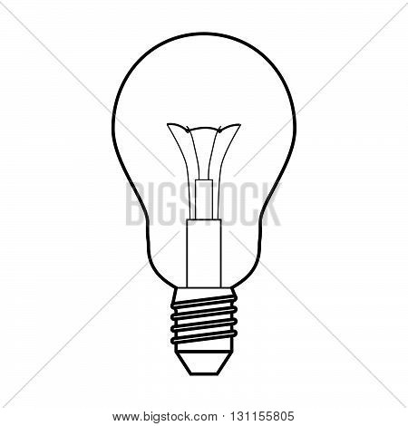 Light bulb drawing with no background. Black lineart.