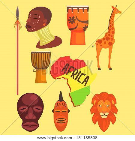 African Symbols Set Of Flat Simple Relistic Design Vector Illustrations