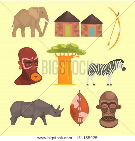Different Symbols Of Africa Set Flat Simple Relistic Design Vector Illustrations