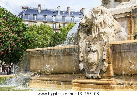 Paris, France - May 14: It is fragment of the fountain Saint-Sulpice May 14, 2013 in Paris, France.