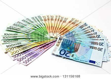 Money Fan From Various Euro Bills 500 200 100 50 20