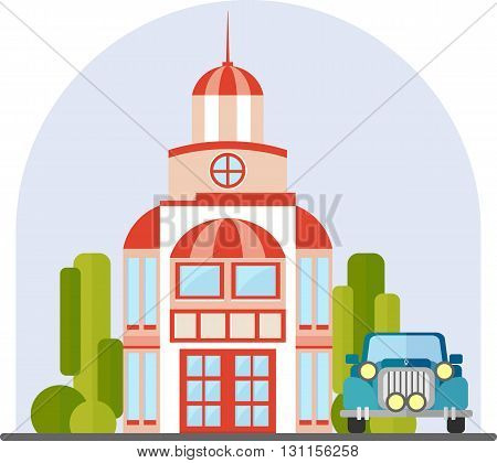 Colorful Flat Residential Houses vector. Residential private house, three floors, with balconies. Vector flat illustration. Isolated on white background. Big beautiful house with trees and car.
