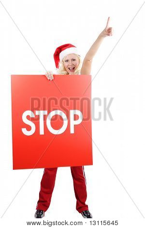 Beautiful woman  in a santa's cap cell phone. Isolated on white background