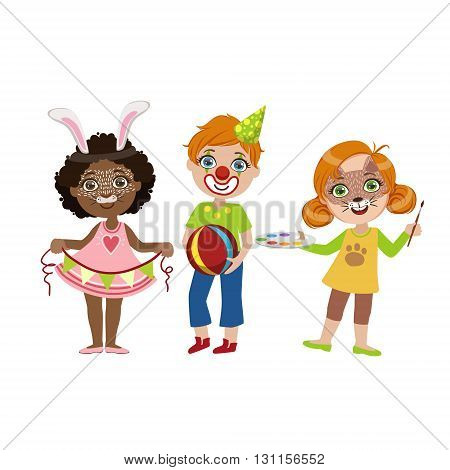 Kids With Funny Make Up Bright Color Cartoon Childish Style Flat Vector Drawing Isolated On White Background