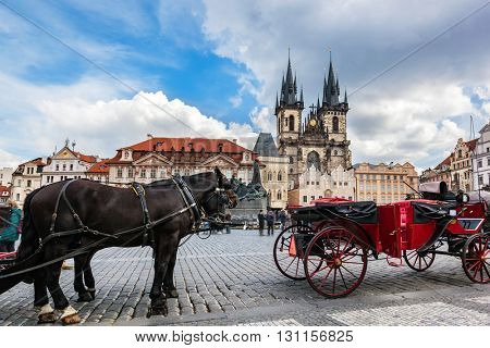 Old Town of Prague, Czech Republic. Horse carriage for tourists on the square with view on Tyn Church. Blue sunny sky