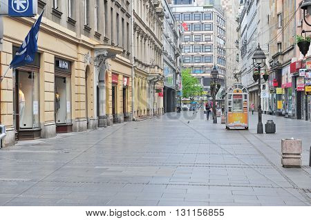BELGRADE SERBIA - APRIL 30: View of the shopping pedestrian street in centre of Belgrade on April 30 2016. Belgrade is a capital and largest city of Serbia.