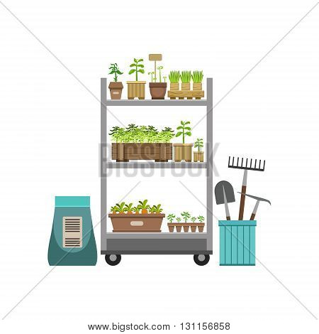 Shelves With Plants And Gardening Instruments Bright Color Simple Style Flat Vector Illustrations On White Background
