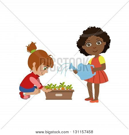 Girls Gardening Together Bright Color Simple Style Flat Vector Illustrations On White Background