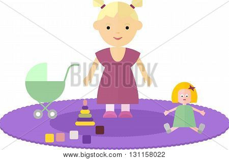 Little girl in the children's room. The child is on the floor. Around the girls are her favorite toy bear, doll, pyramid, cubes. On the floor of the room lay a carpet. Objects isolated on a white background. Flat vector illustration.