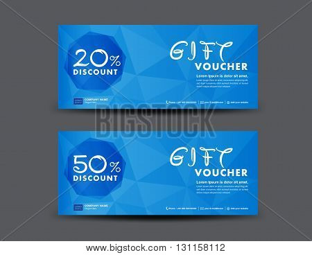 Blue Discount Voucher template coupon design ticket banner cards polygon background