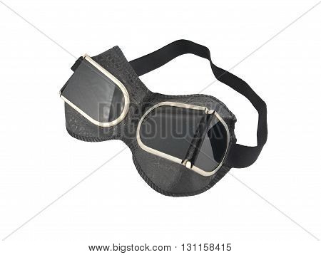 Protective goggles for welding on a white background isolated