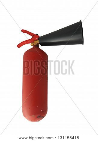 red metal extinguisher with scratched paint and seal
