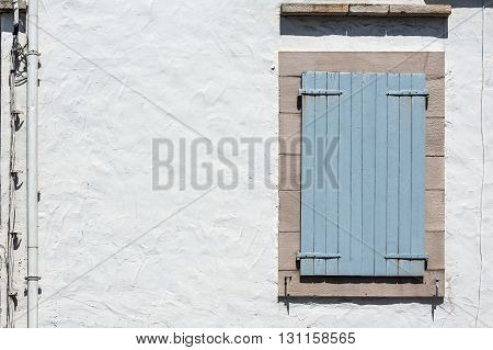 Blue Wooden Window Closed.