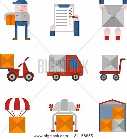 Objects for delivery service. Flat design colored vector illustration.