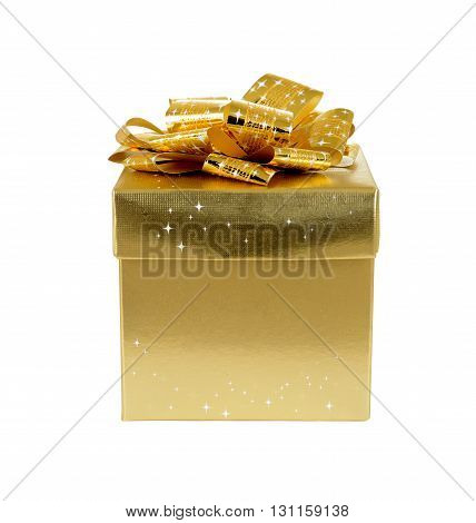 isolated gold-colored gift box on white background