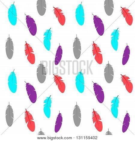 Vector seamless pattern with colorful feathers. Graphic stylized elements for print card decoration textile paper.
