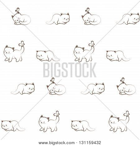 Vector seamless pattern of cute cat character. Outline cartoon kitten and butterfly sketch funny decorative ornament.