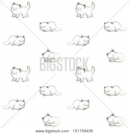 Vector seamless pattern of cute cat character. Outline cartoon kitten sketch funny decorative ornament.