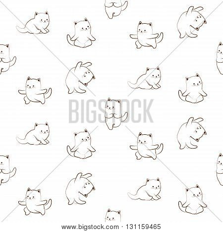 Seamless pattern of cute cat characters practicing yoga. Cartoon outlined sketch of cat in yoga poses on white background. Funny ornament.