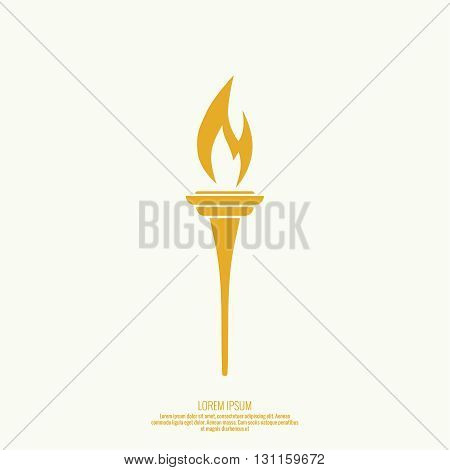 Vector icon of torch with a flame. Yellow torch. The flame