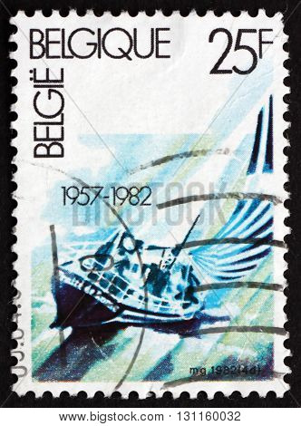 BELGIUM - CIRCA 1982: a stamp printed in the Belgium shows Sailing Aquatic Sports circa 1982