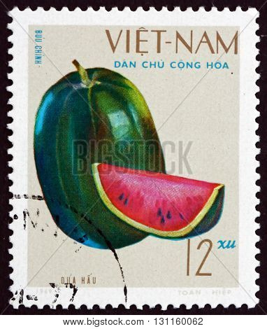 VIETNAM - CIRCA 1970: a stamp printed in Vietnam shows Watermelon Fruit circa 1970