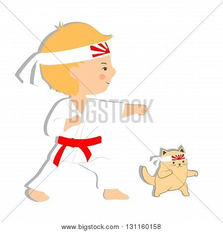 Vector illustration of young boy and cat practicing martial arts on white background. Cartoon stylized kid in karate uniform and headband. Cute karate kitten.