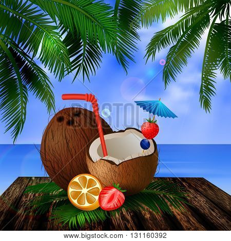 tropical vector background with leaves of palm trees summer sky  clouds exotic beverage and fruit cocnut on wooden deck