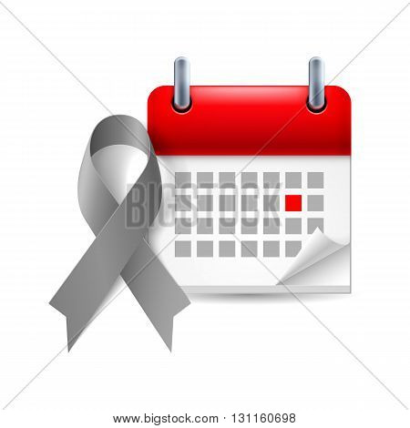 Gray awareness ribbon and calendar with marked day. Diabetes asthma brain cancer symbol