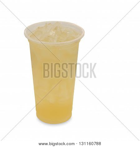 ice green tea with lemon in takeaway glass isolated on white background with clipping path