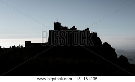 Profile of medieval castle of Loarre on top of hill, Huesca, Spain