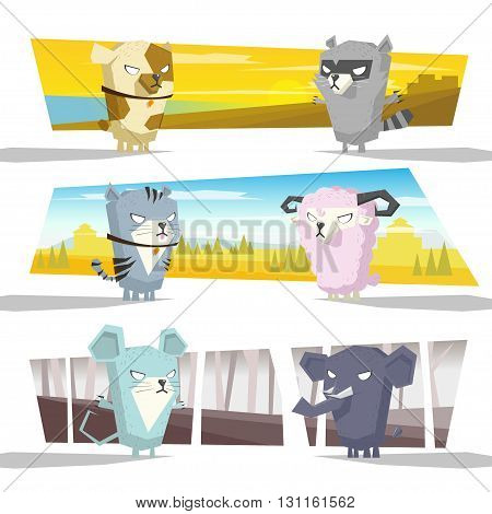Cute animals collection with background,vector,illustration