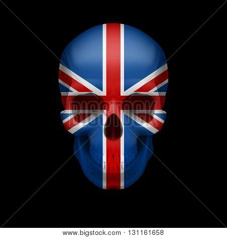 Human skull with flag of Great Britain. Threat to national security war or dying out