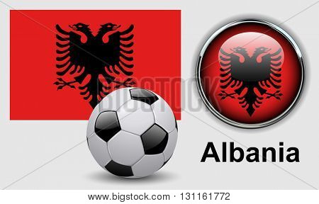 Albania flag icons with soccer ball, vector design.