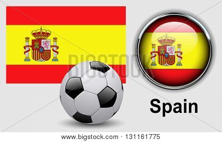 Spain flag icons with soccer ball, vector design.