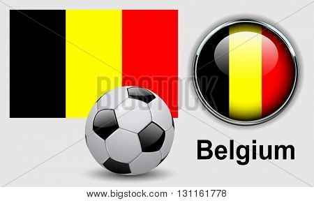 Belgium flag icons with soccer ball, vector design.