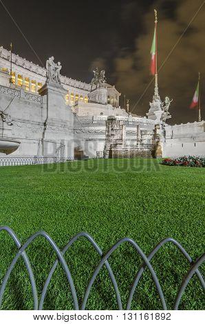 Italy, Rome, Altare della Patria - The front of Vittoriano in a long exposure shot