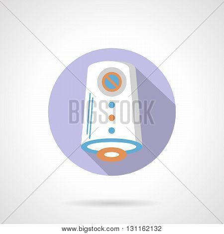 Air cleaner or purification device with humidification, ionization, antibacterial effect. Filtering dust allergens. House climatic technics. Round flat color style vector icon.