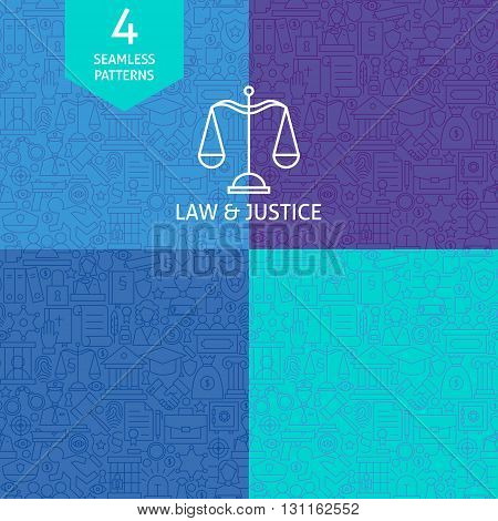 Thin Line Art Law Justice And Crime Pattern Set