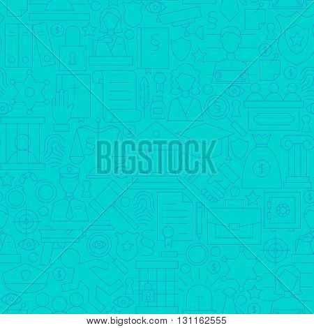 Thin Line Blue Law And Justice Seamless Pattern