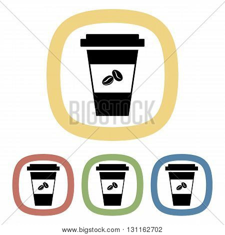 Vector colorful coffee cup icon an a green background