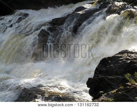 Waterfall on Kutsayoki river at Kola peninsula Russia